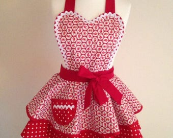 1950s style retro apron pinny in red vintage style floral print and red polka dot fabric