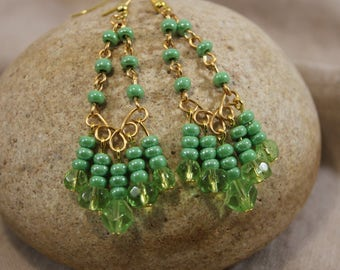 Green crystal and bead chandelier dangle earrings