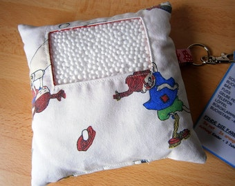 I Spy bag, Sweden, vintage fabric, white, blue,horse, search bag, search pillow, ergotherapy, search bag, game, children