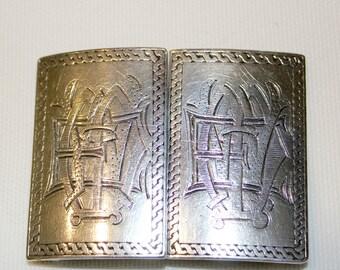 Antique Sterling Silver Monogrammed Belt Buckle