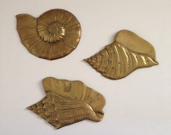 Vintage Brass Nautilus and Conch Shell Wall Hangings Set of 3 - Tropical Ocean Decor