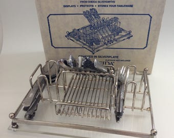 In Box Oneida Silverware Buffet Caddy - Silverplate with Acrylic Base
