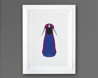 Disney Princess Dress, Disney Art, Frozen, Outfit of Anna, Disney minimalist posters, Disney Princess Prints, SS004