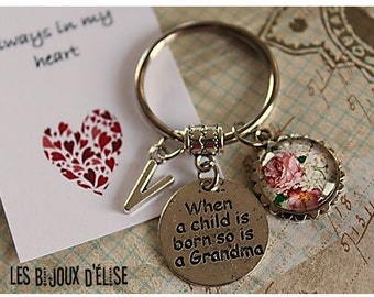 When A Child Is Born So Is A Grandma Keychain Antique Silver Friendship Keychain Family Keychain