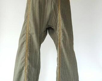 TCZ0043 Hand Sewing Inseam design for Thai Fisherman Pants Wide Leg pants, Wrap pants, Unisex pants, Thai Fisherman Pants, Cotton