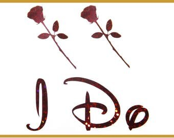 NEW Disney Beauty and the Beast Inspired Roses I Do Shoe Stickers You Pick Color Sparkly Wedding Shoe Decals