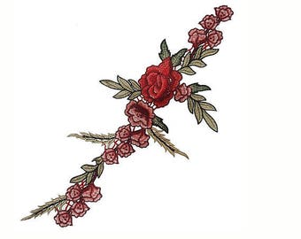 Red Embroidered Rose Flowers Patch Applique for Sewing and Fashion Decor