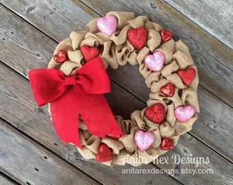 Valentine Burlap Wreath, Heart Wreath, Valentines Day Decor