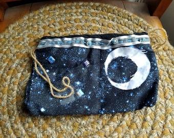 Moths, Moons, and Stars Drawstring Bag