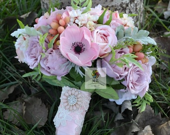 handmade artificial flower bridal bouquet vintage pink peony anemone rose