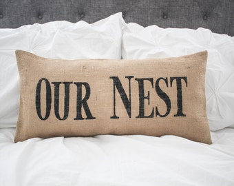 OUR NEST pillow cover, lumbar pillow cover farmhouse style 12x24, burlap pillow cover, fabric pillow cover * Free Shipping*