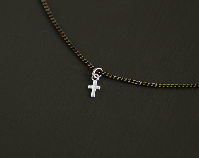 Silver Cross Choker Style Necklace on Brass Chain