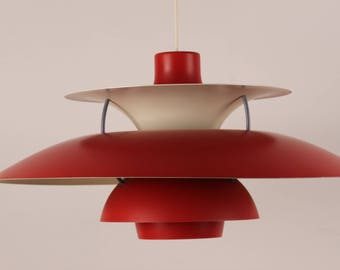 Poul Henningsen PH 5 Pendant RED old version from Louis Poulsen A/S -  Denmark mid century -