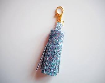 Silver Rainbow Glitter Tassel Keychain, Rainbow Glitter Tassel Charm, Sparkly Silver Tassel Keyring, Silver Glitter Keychain,