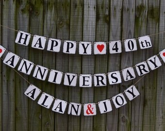 Banner HAPPY ANNIVERSARY  Banners Rustic Banner Happy Anniversary Wedding Banner - Engagement Party Decoration - Photo Prop