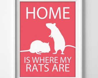 "8x10"" Rats Wall Art, Pet Rats gift, Rats Decor, Rats Lover, Rats Christmas Gift, Pet Rats Art, Rat Present, Rats Birthday, Rats Love"