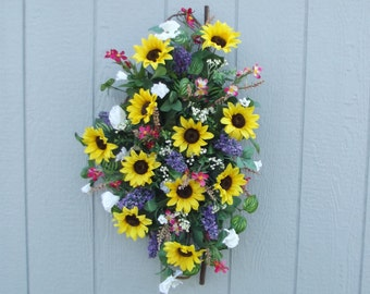 Spring Sunflower Door Swag