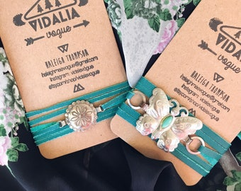 Western Butterfly Concho Wrap Bracelet - Southwestern Wrap Bracelet on Black Microsuede - Vintage Concho Bracelet