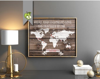 Interactive travel map, on wood effect, personalised, chalkboard gift for traveller, explorer, honeymoon map, wedding gift, anniversary GIFT