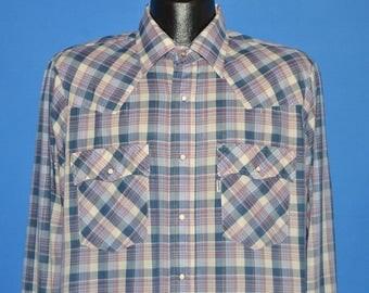 80s Levis Purple Metallic Plaid Western Pearl Snap Shirt Large