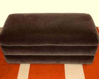 Upcycled Vintage Channel Upholstered Charcoal Mohair Ottoman on Casters