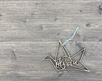 "Personalized Origami Crane Geometric Ornament 5"" inches wide, Custom Christmas Ornament, Babys First Christmas Ornament, Wood Ornament"
