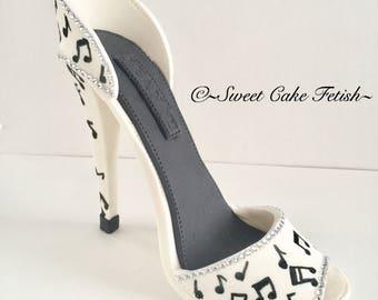 Gumpaste High Heel Shoe/ Cake Topper/black and white music notes/ Fondant shoe topper/Sugar high heel shoe/Fondant high heel/Gumpaste shoe