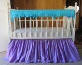Purple Crib Skirt, 3 Sides Purple Dust Ruffle, Teal Rail Cover, Teal Linen Teething Guard, Mermaid Ariel Nursery, Teal Crib Bedding