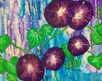 Morning Glory Botanical Original Bohemian Art