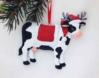 FREE SHIPPING! Cow in Santa Hat with Reindeer Antlers! - Personalized Christmas Ornament - Christmas Cow Ornament - Animal Ornament