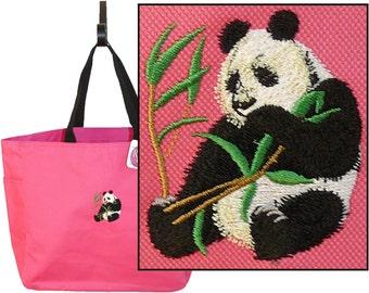 Cute Panda Bear & Bamboo + Free Name Monogram Custom Embroidered Essential Tote Bag