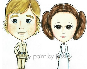 Luke and Leia, Star Wars Inspired, Princess, Skywalker, Boys room wall art, childrens wall art, Gift, Childrens decor