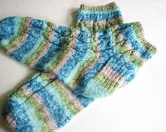 Hand Knit Ankle Socks, Short Striped Socks, Blue and Green Womens Socks, Ready to Ship, Wool Blend Washable Stockings