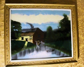 Reverse Painting of an Older Grist Mill. Vintage Frame as well, Very Calming Artwork.