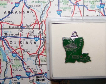 Vintage LOUISIANA Sterling  and Enamel State Charm -- Shreveport, Baton Rouge and New Orleans