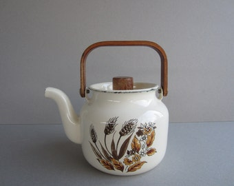 Enamel Tea Kettle in Off White Kettle with Spray of Harvest Flowers, Wooden Handle -- 4 Cup Capacity,