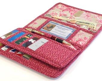 Women's Wallet, Vera Bradley Style Quilted Women's Checkbook Wallet, Vintage Rose Womans Credit Card Wallet, Sweet Raspberry Floral Wallet