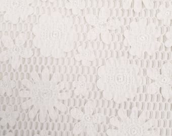 PU Embroidered Laser-Cut Flower Over Air Mesh Fabric