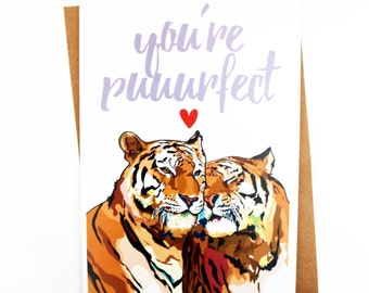 Funny Card | Love Card | Couples Card | Valentines Day Card | Humorous Card | Handmade Card | Animal Card | Pun | Tiger | Anniversary Card