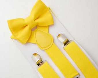 Suspenders SET 8months- ADULT  Mens Kids Baby Boys  Canary Yellow  Suspenders & Yellow  bow tie Page Boy Groom Wedding Set Birthday SET