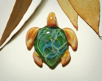 Glass Jewelry - Evergreen Baby Turtle Pendant - Glass Art - Blown Glass - Handmade - Unique Jewelry - Boro Pendant - Universe Filament