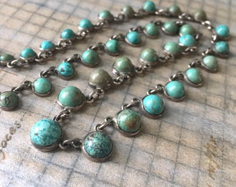 Vintage Turquoise Necklace | Sterling Silver Art Deco Vintage Wedding Prom Jewelry Deco Geometric