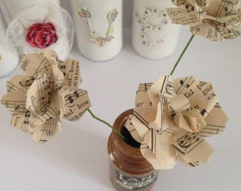 15 Book Page Flowers or 15 Music Notes  Bouquet, Home Decor Bouquet, Paper Flowers
