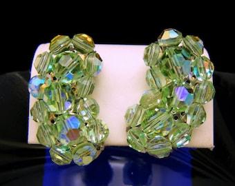 Gorgeous Vintage Spring Green Aspirin Crystal Clip Earrings