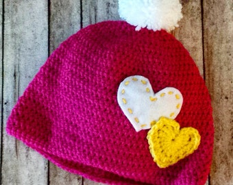 Handmade Crochet Pink Hat with Pompom and Yellow and White Hearts