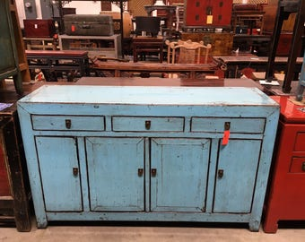 Antique Chinese Storage Credenza in Lacquered Turquoise (Los Angeles)