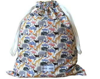 Liberty Print Drawstring Bag | Queue for the Zoo Yellow