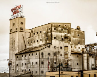 Lone Star Feed Mill Fine Art Print, Industrial Fine Art Photography, Nacogdoches Historical Industrial Art