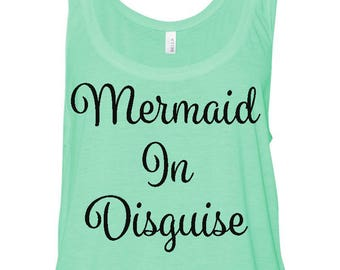 Mermaid in Disguise, Beach tank top, beach inspired tops, beach apparel, flowy tank top, boxy tank top, beach top