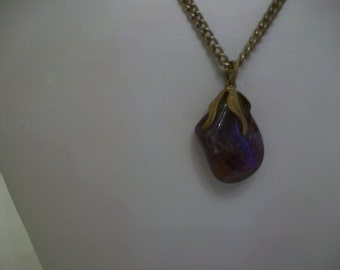 Real Amethyst Stone (Birthstone for February) Pendant on Silver Tone Chain, c. 1970s